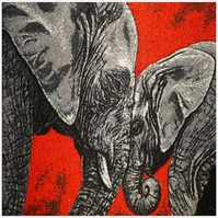 Elephants. A beautiful, mounted, machine embroidered work of art.