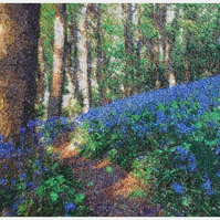 Embroidered Art-Sea of Bluebells.  A beautiful, mounted, unframed, work of art