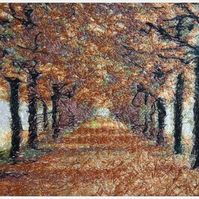 Embroidered Art-Autumn Trail.  A beautiful work of art.