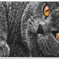 Embroidered Art - Black Cat, Black Cat. A beautiful work of art