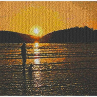 Lola's Sunset. A beautiful, mounted, machine embroidered work of art.
