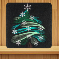 Handmade Swirly Tree Christmas card embroidered design