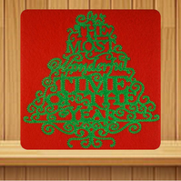 Handmade Most Wonderful Time of the Year Christmas card embroidered design