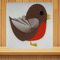 Handmade Textured Robin Christmas card embroidered design
