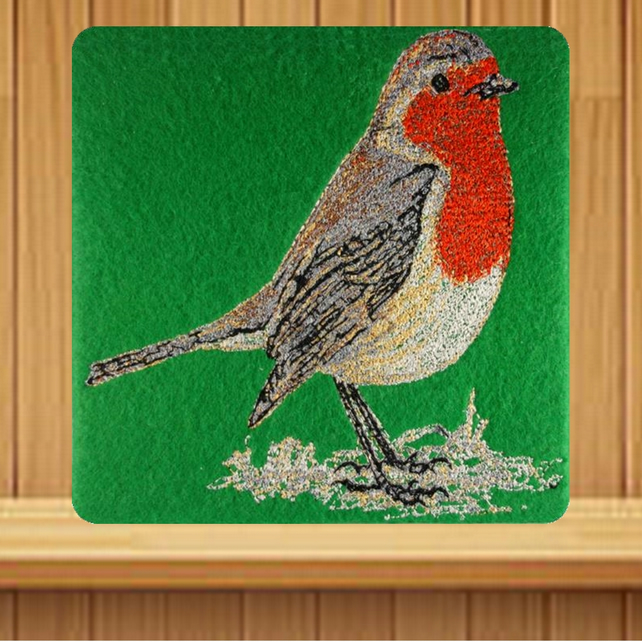 Handmade Robin Christmas card embroidered design