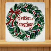 Handmade Holly Wreath Christmas card embroidered design - Any language