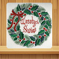 Polish Handmade Wesolych Swiat Holly Wreath Christmas card embroidered design wi