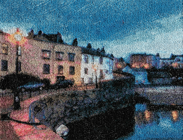Tenby I. A beautiful, mounted, machine embroidered work of art.