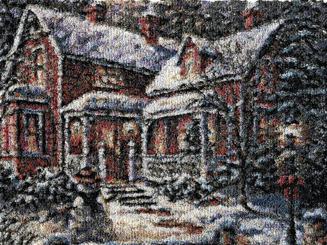 Christmas House. A beautiful, mounted, machine embroidered work of art.