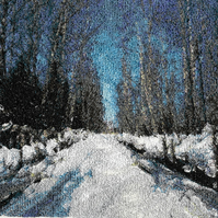 Embroidered Art - Snowy Road.  A beautiful work of art