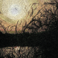 Embroidered Art - Lakeside Sunset.  A beautiful work of art