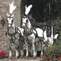 Embroidered Art - Horse Drawn Carriage, St. Pierre II  A beautiful work of art