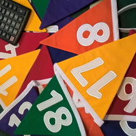 Rainbow Embroidered Numbers Bunting 1-50 - perfect for classrooms or playrooms