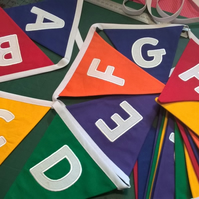 CAPITAL LETTERS Alphabet Bunting Rainbow Embroidered