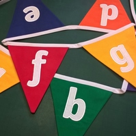 Rainbow Embroidered Alphabet (Lower Case Letters, Pre cursive) Bunting