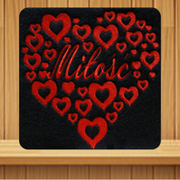 Polish Valentines Card-Milosc. Handmade embroidered design