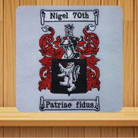 Handmade Coat of Arms greetings card (with option to personalise) embroidered