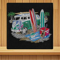 Handmade VW Campervan greetings card (with option to personalise) embroidered
