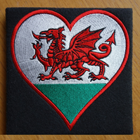 Welsh Dragon Heart card (with option to personalise) embroidered