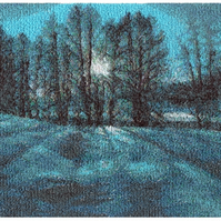 Blue Moon Beautiful, mounted, machine embroidered work of art.
