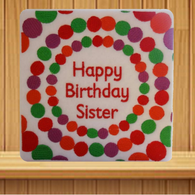 Handmade Embroidered Happy Birthday Sister greetings card