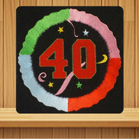 Handmade 40th Birthday Balloon greetings card embroidered design