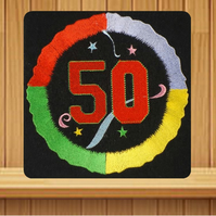 Handmade 50th birthday greetings card embroidered design