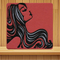 Handmade female profile greetings card embroidered design