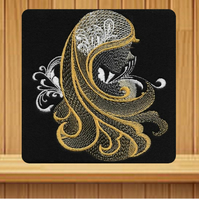 Handmade gold female profile greetings card embroidered design