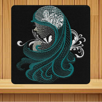 Handmade turquoise female profile greetings card embroidered design