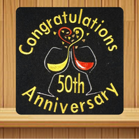 Handmade 50th golden anniversary greetings card embroidered design