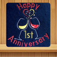 Handmade 1st anniversary greetings card embroidered design