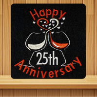 Handmade 25th silver anniversary greetings card embroidered design
