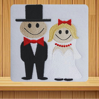 Wedding Handmade greetings card embroidered design
