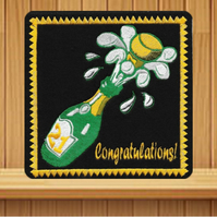 21st Birthday.  Handmade greetings card embroidered design
