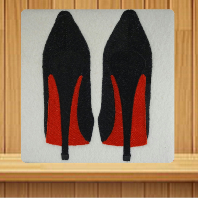 Handmade black high heeled shoes greetings card embroidered design