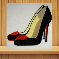 Handmade high heels with hearts greetings card embroidered design