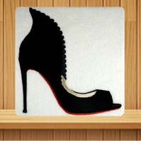 Handmade black high heeled shoe greetings card embroidered design
