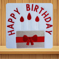 Handmade happy birthday cake greetings card embroidered design