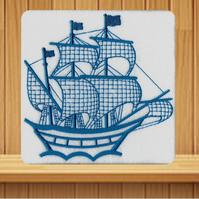 Handmade Embroidered Galleon Sailing Ship Design greetings card