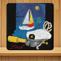 Handmade Embroidered Dad Sailing Ship Design greetings card