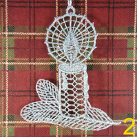 Handmade Christmas Tree Ornaments Design 2. Embroidered Free Standing Lace.