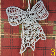Handmade Christmas Tree Ornaments Design 3. Embroidered Free Standing Lace.