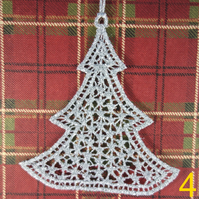 Handmade Christmas Tree Ornaments Design 4. Embroidered Free Standing Lace.
