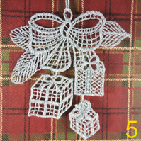 Handmade Christmas Tree Ornaments Design 5. Embroidered Free Standing Lace.