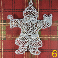 Handmade Christmas Tree Ornaments Design 6. Embroidered Free Standing Lace.