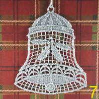 Handmade Christmas Tree Ornaments Design 7. Embroidered Free Standing Lace.