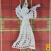 Handmade Christmas Tree Ornaments Design 9. Embroidered Free Standing Lace.