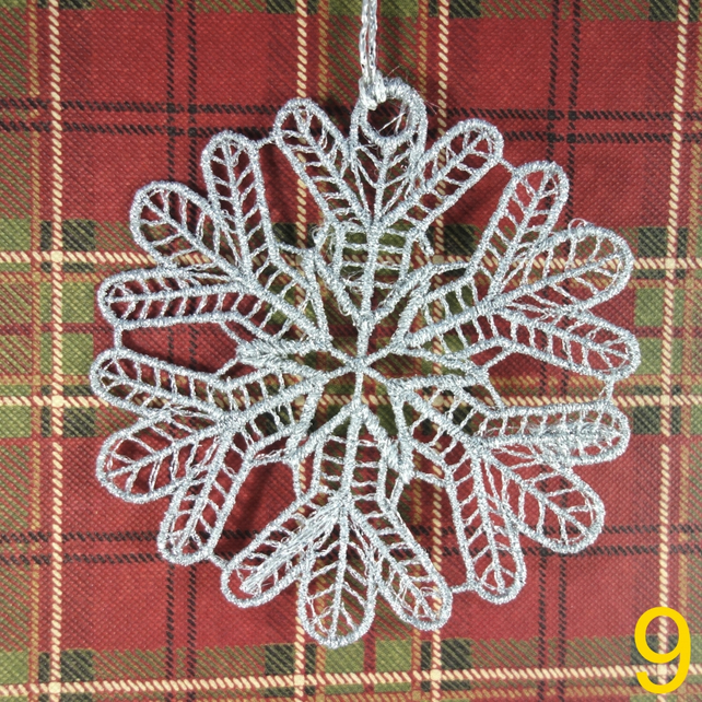 Handmade Christmas Tree Ornaments Design 8. Embroidered Free Standing Lace.