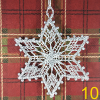 Handmade Christmas Tree Ornaments Design 10. Embroidered Free Standing Lace.